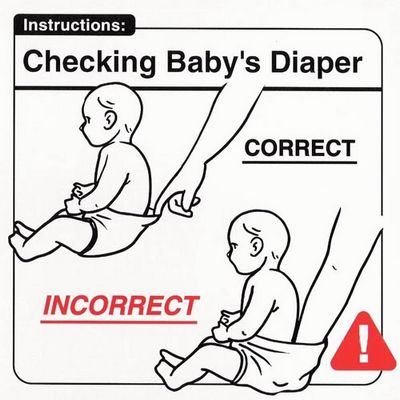 Checking baby's diaper
