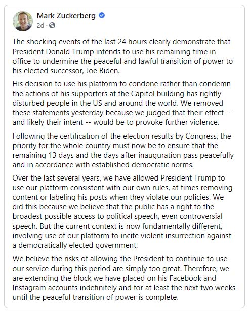 Facebook Bans President Trump